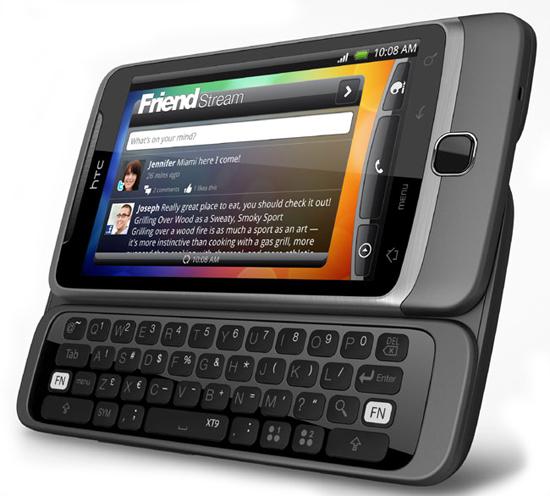 Тачфон-слайдер HTC Desire Z с QWERTY-клавиатурой
